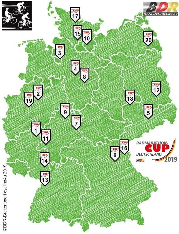 Verteilung der Radmarathons im ganzen Land
